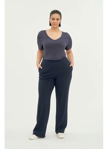 Luokk Gıla Beli Lastikli Rahat Kesim Yanları Cepli Kadın Pantolon Lacivert
